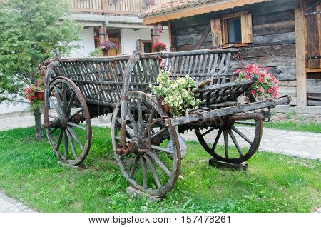 Old wooden chariot on green grass with flowers