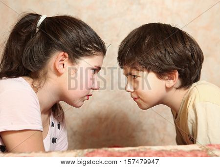 siblings couple brother and sister quarreling conflict