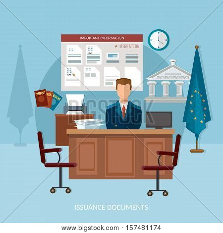 Issuance of documents for immigrant vector illustration passport office documents for emigration