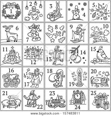 Christmas advent calendar. December colouring book for children`s pastime and educational classes. Black and white template for holiday poster and cards in vector