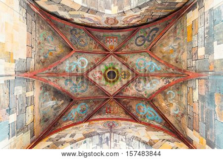 Ceiling in the Old Town Bridge Tower. Colorful interior detail, Czech Republic. The ceiling is painted with paint