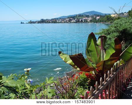 A beauty view of Geneva Lake seen from promenade in Montreux, Switzerland