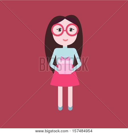 Cute woman holding ribbon bow wrapped gift box in front of her in arms. Flat style vector illustration isolated on red background.