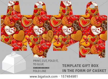 Template holiday cardboard gift box in the form of casket with gingerbread background