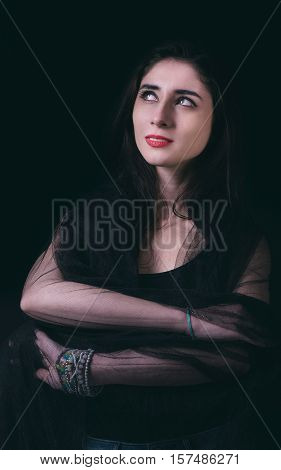 Beautiful Woman Portrait In Low Key