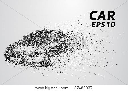 Car from the particles. The vehicle consists of small circles