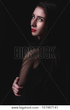 Female Portrait On Dark Background