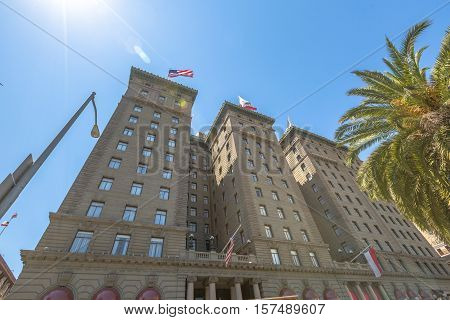 San Francisco, California, United States - August 17, 2016: close up of Westin St. Francis luxury hotel on popular Powell Street near Union Square in downtown San Fancisco. Perspective bottom upwards.