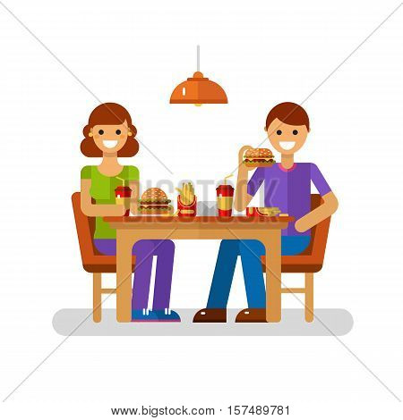 Vector flat design illustration of man and woman eating fast food in cafe or restaurant. Young modern couple on dating sitting in the cafeteria, drink soda, eating french fries, burger, cheeseburger.
