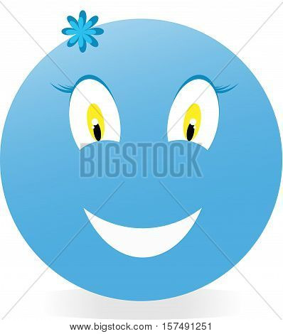 round, smile, symbol, blue, face, vector, luck, joy, happiness, good fortune