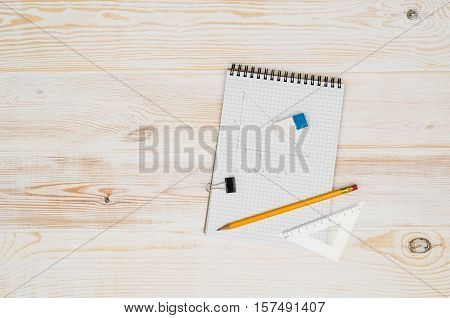 Office table or desk seen from above. Top view product photograph. Shool or university concept image.