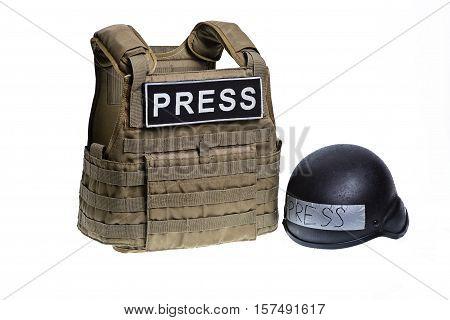 Bulletproof vest and helmet with inscription