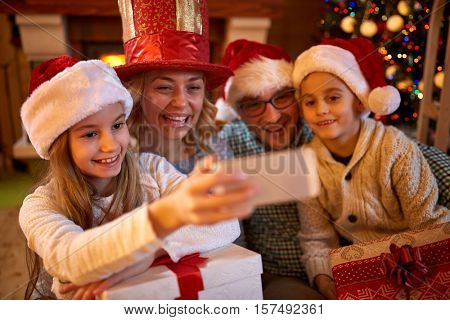 Xmas funny selfie-time for smiling family