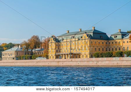 SAINT PETERSBURG RUSSIA - OCTOBER 3 2016. Prince Menshikov Palace in Saint Petersburg Russia. The palace of Prince Menshikov was the first large stone building erected in Saint Petersburg Russia