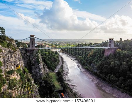 Hdr Clifton Suspension Bridge In Bristol