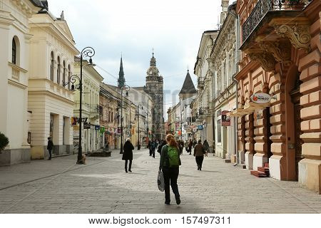 KOSICE SLOVAKIA - March 30 2016: View on the central street with church in Kosice city Slovakia.