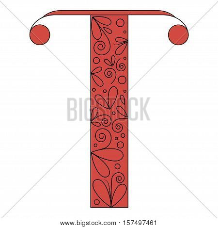 Decorative letter shape. Font type T. Black and red colors