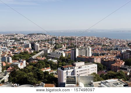 LISBON, PORTUGAL - September 30, 2016: Panoramic view from the newest Amoreiras Lookout Point in Lisbon Portugal towards the old city and the Castle of Saint Georges in the background