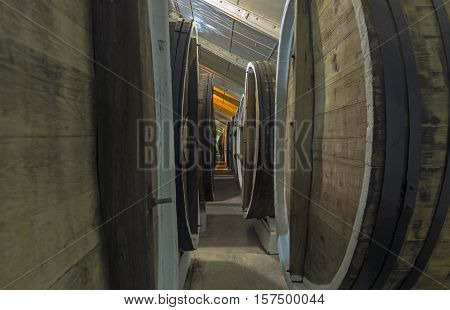 Aging of fortified and dessert wines in oak barrels in the cellars of the Sunny Valley winery Crimea.