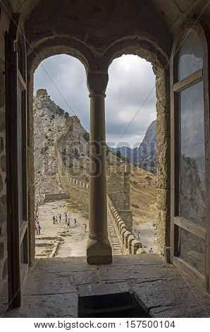 Genoese fortress in Sudak Crimea. View from the window of the Consular castle onto the fortification wall of the upper tier.