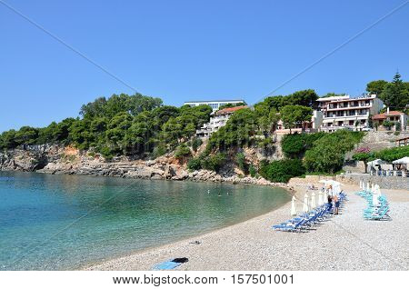 Roussoum Gialos beach in Alonissos island Sporades Greece
