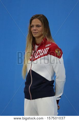 RIO DE JANEIRO, BRAZIL - AUGUST 8, 2016: Silver medalist Yulia Efimova of Russia during medal ceremony after Women's 100m Breaststroke Final of the Rio 2016 Olympic Games at Olympic Aquatics Stadium