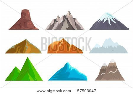 Cartoon Hills And Mountains Set, Vector Isolated Landscape Elements For Web Or Game Design. Vector I
