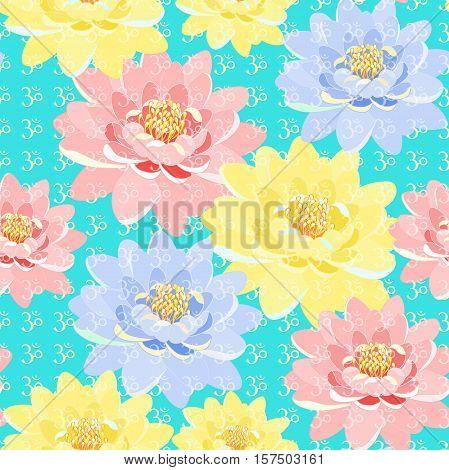 Seamless Pattern A Lotus  Meditating Vector Illustration