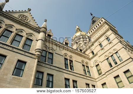 low angle view of the Hartford capitol building