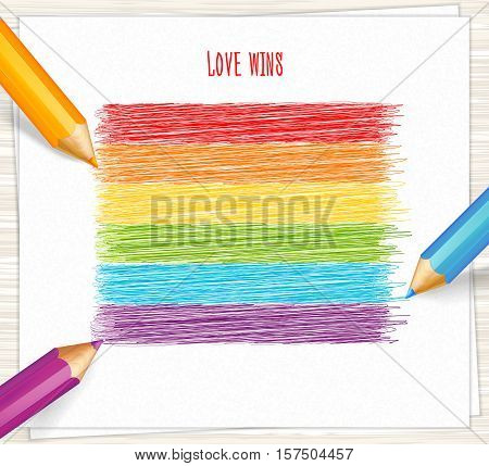 Rainbow stripes drawn with highly detailed pencils. Sketch pencil drawing. Vector doodles. LGBT flag, symbol of peace, gay culture.