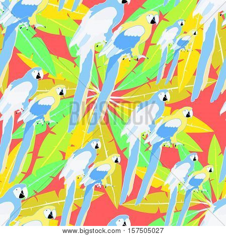Seamless Pattern Of Hawaii Palm And Parrot Caribbean Gold Vector Illustration