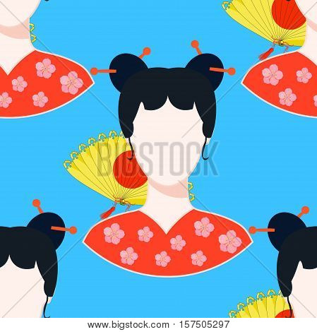 Seamless Pattern With A Japanese Girl. Vector Illustration