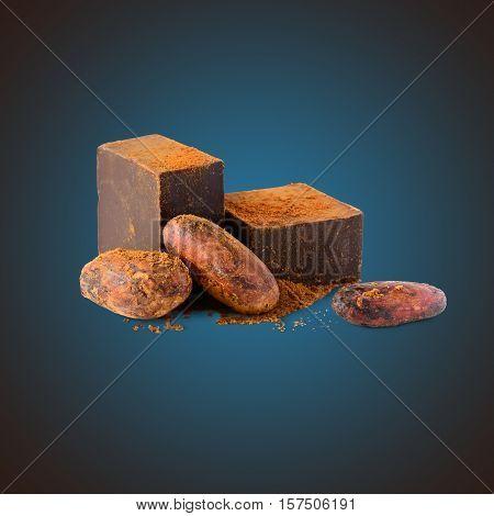 Dark chocolate, cocoa beans and cocoa powder