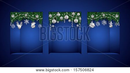 Illustration of Christmas showcase template decorated with fir tree branches silver stars balls and paper streamers