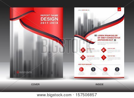 Red Cover Annual report brochure flyer template creative design, cover design, cover and inside page layout , infographics vector
