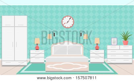 Bedroom interior in classic style with furniture including bed bedside tables wardrobe clock and lamps. Vector illustration in flat style.