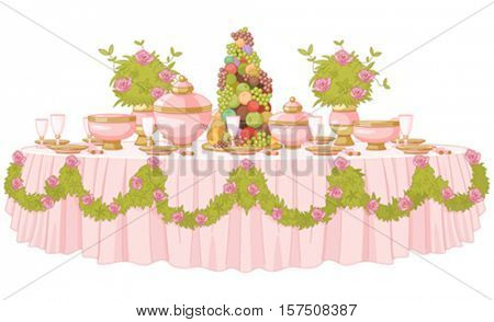 Served dining table in princess palace