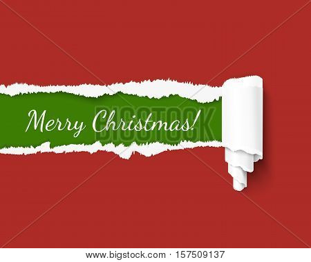 Vector torn paper template for Merry Christmas promo and advertising in santa colors. Green teared paper edge isolated on red background. Hole in red paper with torn sides. Vector paper illustration