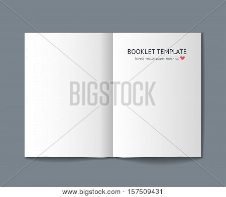Blank booklet mock up with shadow isolated on dark gray background. Realistic vector template for booklet, keaflet, flyer, newspaper. Mockup for graphic designer portfolio presentation