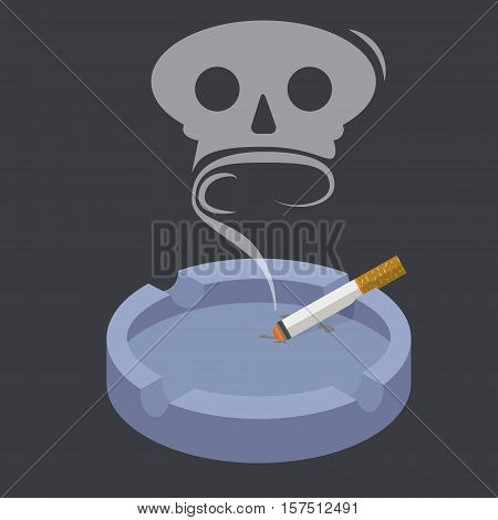 Ceramic ashtray with smokes cigarettes in form of skull. No smoking concept. Flat vector illustration