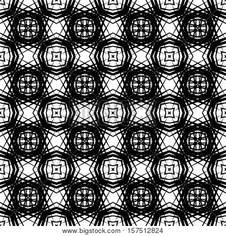Abstract geometric seamless pattern with fantasy artistic elements. Simple black and white background.Vector illustration. Monochrome fantasy design.