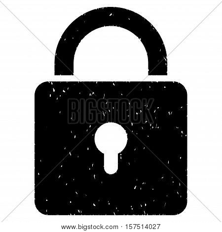 Lock grainy textured icon for overlay watermark stamps. Flat symbol with dust texture. Dotted vector black ink rubber seal stamp with grunge design on a white background.