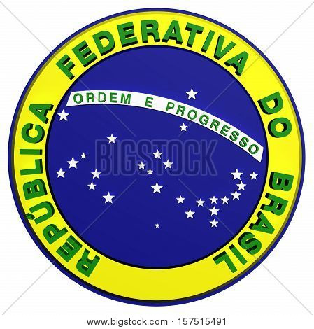 Seal of Brazil. 3D Illustration. Front View.