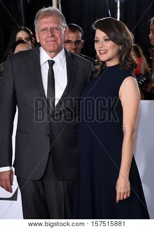 LOS ANGELES - NOV 09:  Robert Zemeckis and Marion Cotillard arrives to the 'Allied' LA Red Carpet Fan Event on November 09, 2016 in Westwood, CA