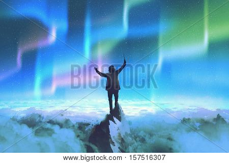 the conductor holding baton standing on top of a mountain against night sky with Northern Lights, illustration painting