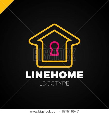 Line House Key Hole Lock Security Protection Vector Icon Logo