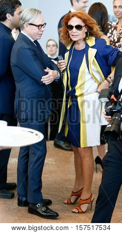 NEW YORK-MAY 5: Designers Tommy Hilfiger (L) and Diane von Furstenberg at the Anna Wintour Costume Center Grand Opening at the Metropolitan Museum of Art on May 5, 2014 in New York City.