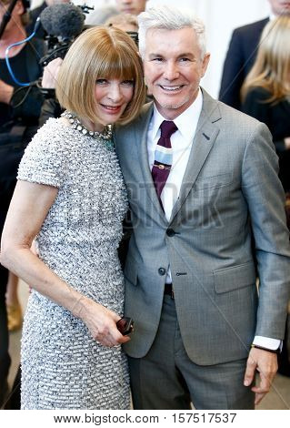 NEW YORK-MAY 5: Vogue Editor-in-Chief Anna Wintour (L) and Baz Luhrmann at the Anna Wintour Costume Center Grand Opening at the Metropolitan Museum of Art onay 5, 2014 in New York City.
