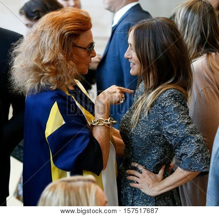 NEW YORK-MAY 5: Designer Diane von Furstenberg (L) and Sarah Jessica Parker at the Anna Wintour Costume Center Grand Opening at the Metropolitan Museum of Art on May 5, 2014 in New York City.