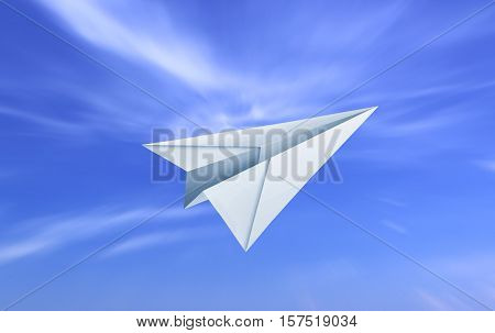 Paper plane flying under cloudy blue sky